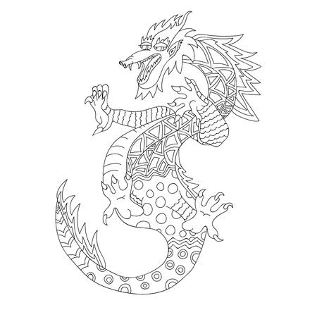 幻想的なドラゴン。白の背景にベクトル図手で描かれた、黒い輪郭