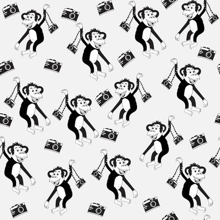 Monkey with camera.Seamless pattern, black and white, hand-drawn