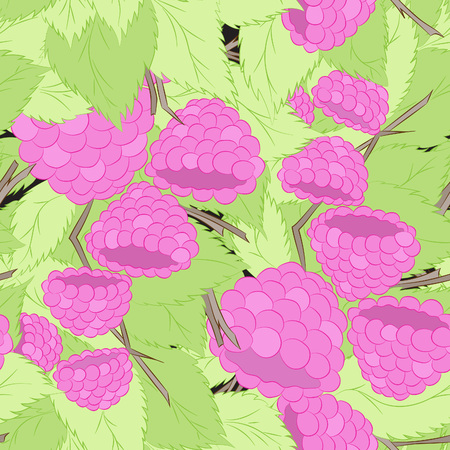 Raspberries on a branch.Seamless pattern, bright, hand-drawn