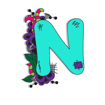 Letter N illustration, bright, hand-drawn