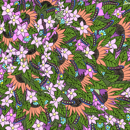 intertwine: Abstract floral pattern.Vector illustration, bright, hand-drawn
