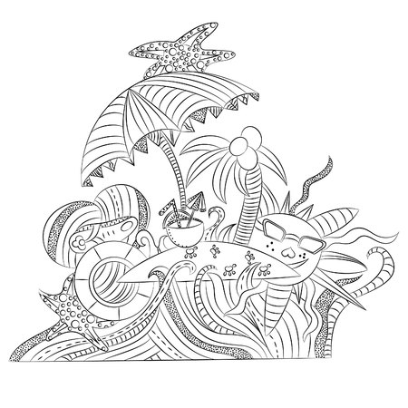 Uninhabited island with palm trees in the ocean.Vector illustration, black outline on a white background, drawn by hand