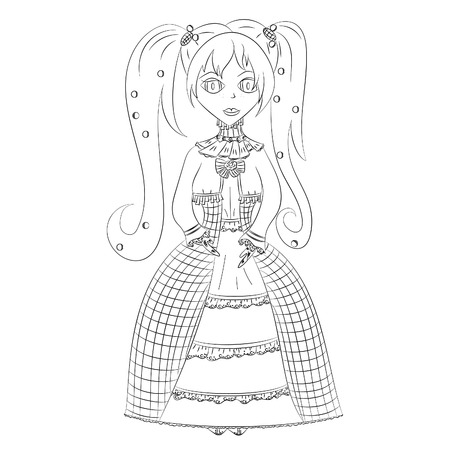 girl in medieval dress vector illustration anime black outline