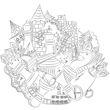 Chess city.Vector illustration, abstraction, black outline on white background, drawn by hand Çizim