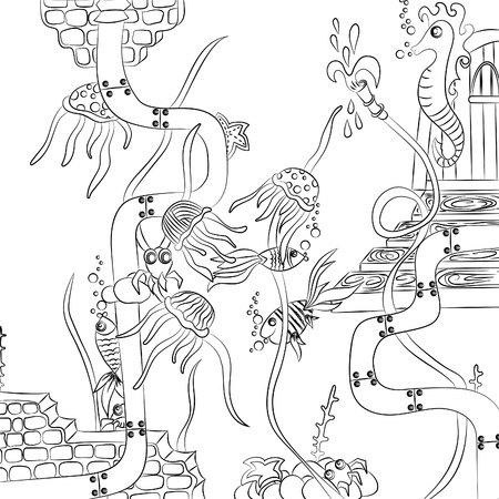 Überschwemmter Keller, mit Fischen und Quallen. Vektorillustration, schwarzer Entwurf auf dem weißen Hintergrund, von Hand gezeichnet Vektorgrafik