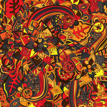 Abstract, psychedelic pattern. Vector illustration, bright, doodle, mehendi design