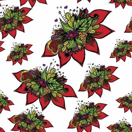 抽象的な花、シームレスなパターン。瞑想、なだめる、織物のために。
