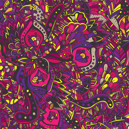 Abstract psychedelic pattern. Vector illustration, painted in red, orange, yellow colors. Doodle, hand-drawn