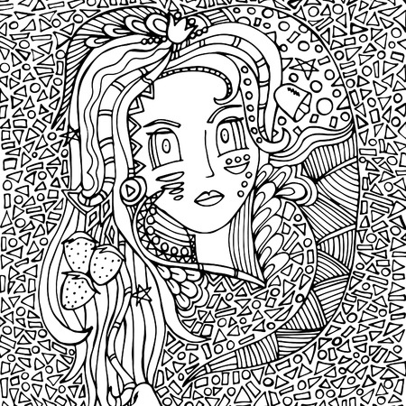 Woman's face, doodle, mosaic .Vector illustration, psychedelic pattern