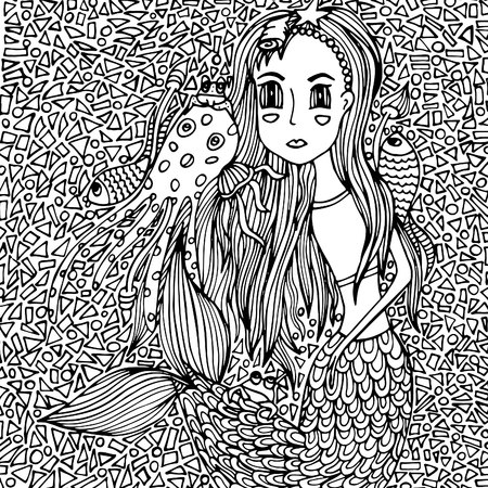 Mermaid girl and sea creatures, mosaic. Vektor illustration, doodle drawn by hand