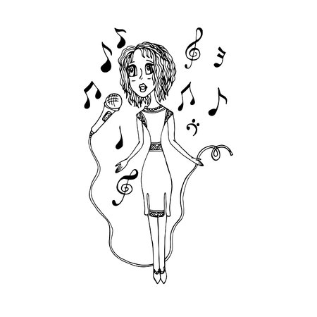 A girl sings into a microphone. A vector, a cartoon, a sketch drawn by hand, painted