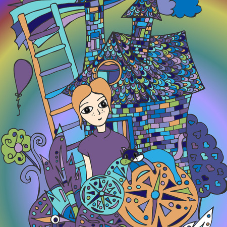 A girl in a magic garden. A vector illustration, a doodle drawn by hand.