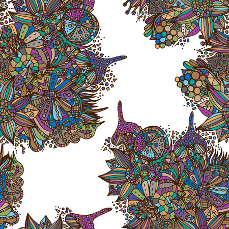 Fairy forest. Seamless pattern, bright, psychedelic painting, hand-drawn