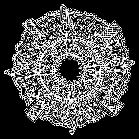 Mandala for meditation. Vector illustration, painted, doodle drawn by hand 일러스트