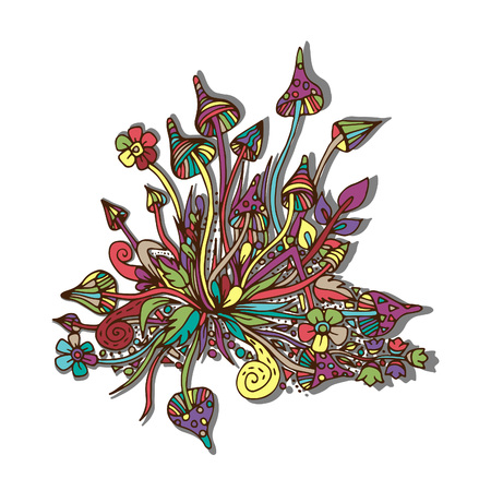 Mushrooms of psilocybin, fly agarics. Vector illustration, doodle, painted and hand-drawn.