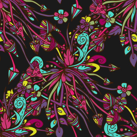 Fungi of psilocybin, fly agarics. Seamless pattern, bright, psychedelic, doodle hand drawn