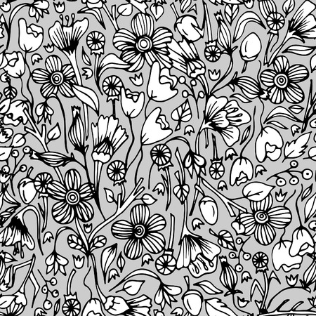 Continuous floral pattern for wallpaper on black and white illustration. 일러스트