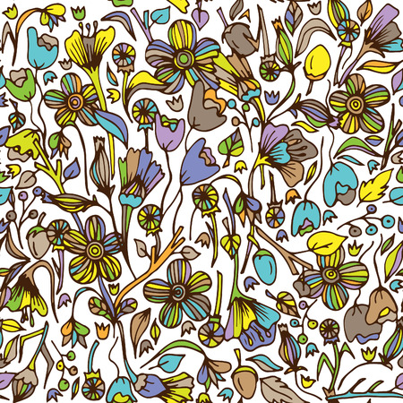 Continuous floral pattern for wallpaper on colored illustration.
