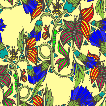 Spring field flowers with butterflies, insects. Vector illustration, doodle, seamless pattern, hand-drawn 일러스트