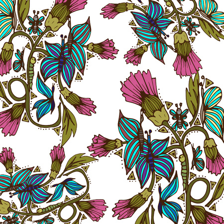 Spring field flowers with butterflies, insects. Vector illustration, doodle, hand drawn pattern