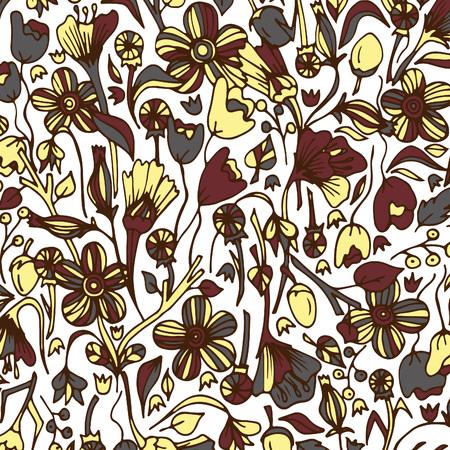Spring field flowers.Vector, illustration, doodle, hand drawn pattern Ilustração