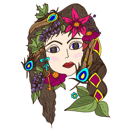 The girl's face in berries, flowers, peacock feathers. Vector illustration, psychedelic pattern, doodle, summer