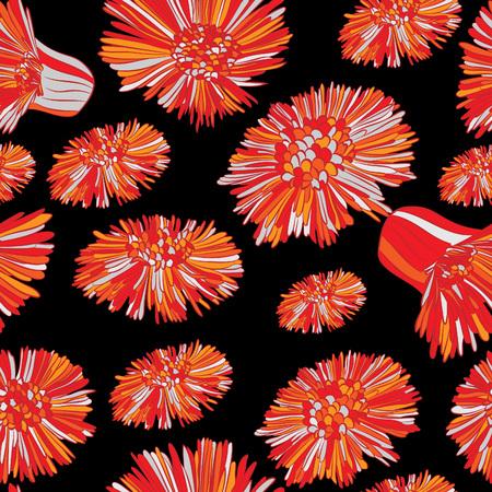Spring flowers, fluffy, bright. Seamless pattern, hand-drawn