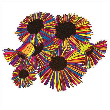 Spring flowers, fluffy, bright.Vector illustration, drawn by hand