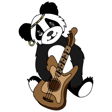 Panda with a guitar. A vector illustration, a sketch drawn by hand