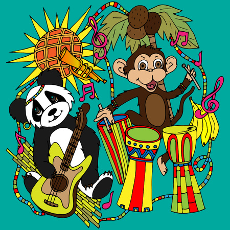 Panda with a guitar and a monkey with African drums. A vector illustration, a sketch drawn by hand 일러스트