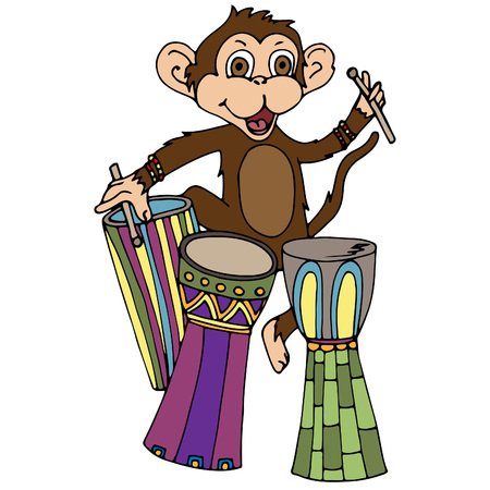 A monkey with African drums. A vector illustration, a sketch drawn by hand