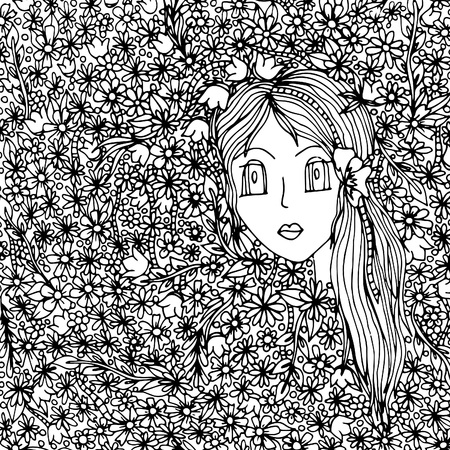 The girl's face in flowers. The vector illustration, a sketch drawn by hand