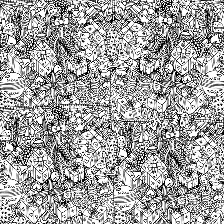 Christmas, festive pattern.Vector illustration, sketch drawn by hand