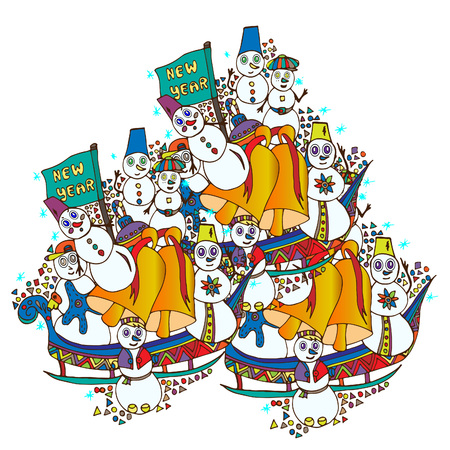 Snowmen on sleds.Vector illustration, Christmas, New Year, drawn by hand 일러스트