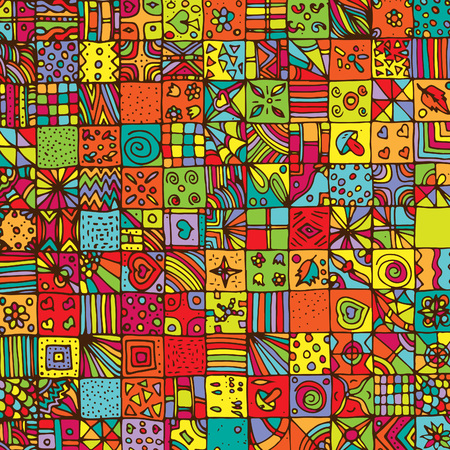 Abstract, psychedelic pattern, mosaic. Vector, geometric, hand-drawn