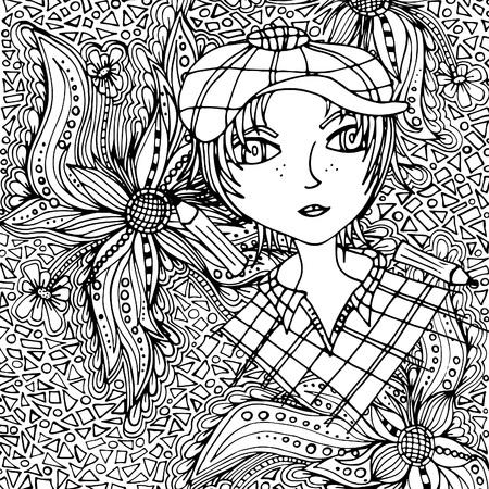The face of a girl with a hairdo, doodle. A vector illustration drawn by hand Illusztráció