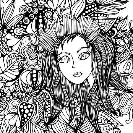 The face of a girl with a hairdo, doodle. A vector illustration drawn by hand 일러스트