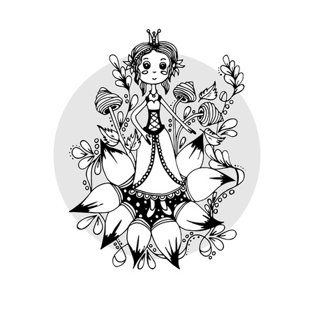 A girl in a flower, a sketch drawn by hand 일러스트