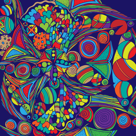Psychedelic pattern. For meditation, soothing, twisting elements. Doodle drawn by hand 일러스트