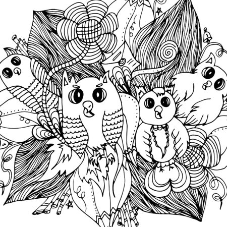 Owls in colors. Doodle drawn by hand 일러스트