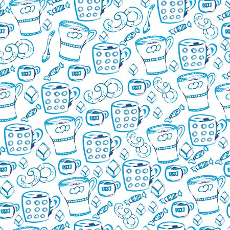 Tea with sweets.Seamless pattern, hand-drawn