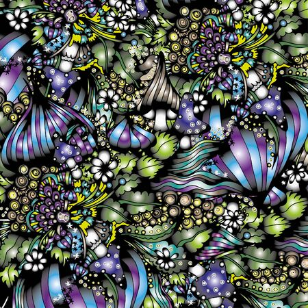 Abstract psychedelic pattern. Mushrooms. Hand drawn sketch. Doodle, bright paint. Card