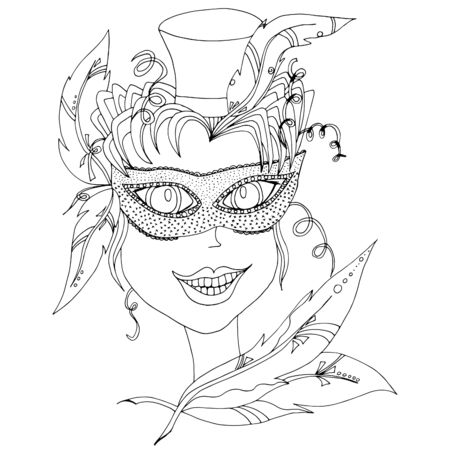 Beautiful girl in carnival mask. Hand drawn sketch. Holiday outfit. Hairstyle with feathers. Hat cylinder.