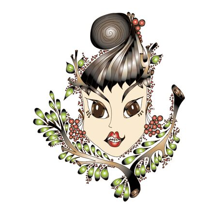Young girl with a deer horns. Hand drawn sketch. Natural natural ornament that surrounds the face. Berries and leaves.