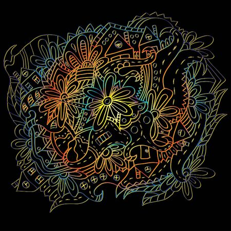 Hand-drawn floral ornament. Bright outline. Psychedelic pattern 스톡 콘텐츠 - 137391104