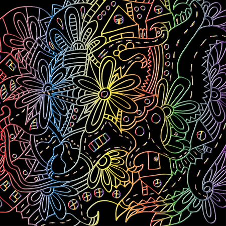 Hand-drawn floral ornament. Bright outline. Psychedelic pattern