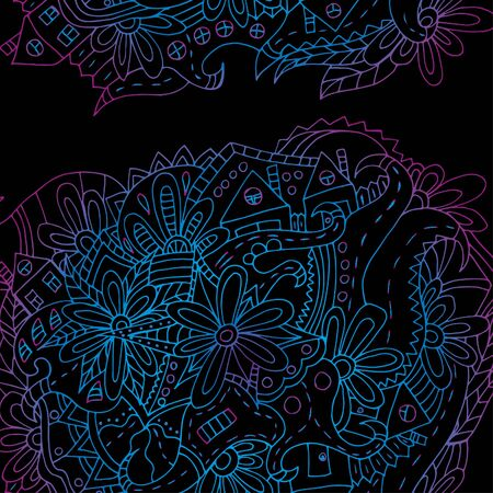 Hand-drawn floral ornament. Bright outline. Psychedelic pattern 스톡 콘텐츠 - 137391108
