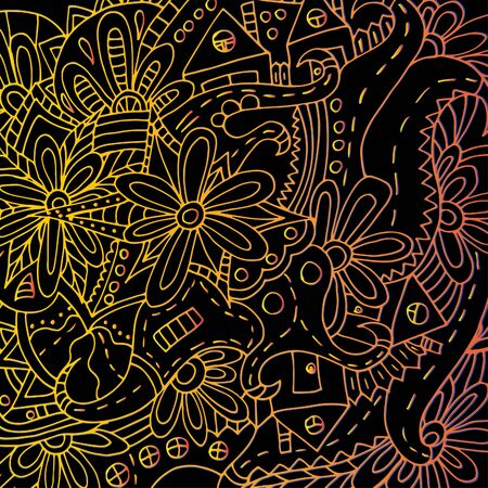 Hand-drawn floral ornament. Bright outline. Psychedelic pattern 스톡 콘텐츠 - 137391109
