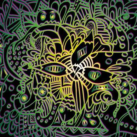 Fish and flowers. Psychedelic pattern. For meditation, soothing, twisting elements. Doodle drawn by hand. 스톡 콘텐츠 - 137391167