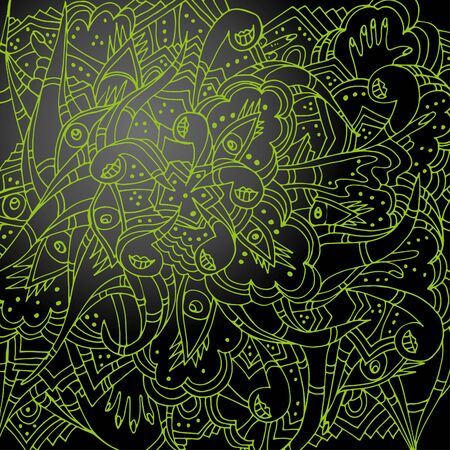 Parts of the body, hands, eyes, lips. Abstract doodle, hand-drawn doodle. Awful, psychedelic ornament. 일러스트